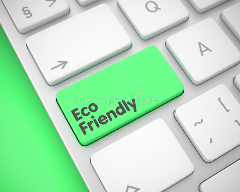 Eco freundlich - Text auf grünem Tastatur-Knopf 3d stock abbildung