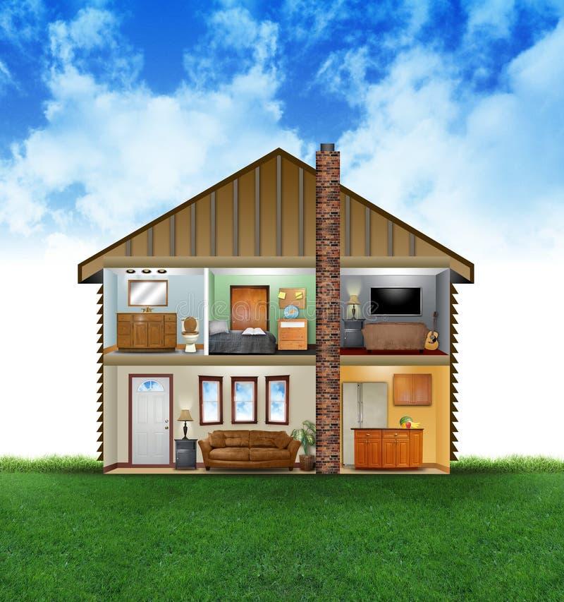 Eco freundlicher Haus-Innenraum vektor abbildung