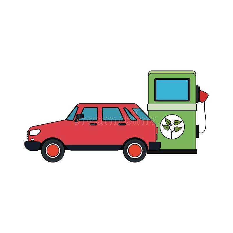 eco freundliches Gaspumpen- und -autoikonenbild lizenzfreie abbildung