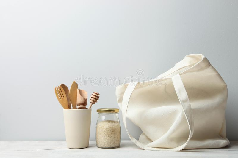 Eco friendly bag, cutlery and rice bank. zero waste royalty free stock photography