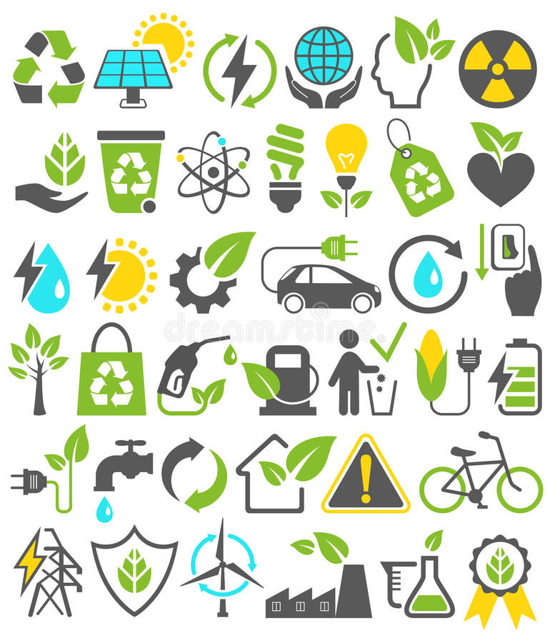 Eco Friendly Bio Green Energy Sources Icons Signs Set Isolated o. N White Background vector illustration