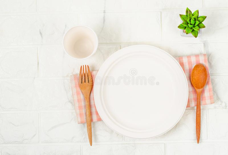 Eco friendly biodegradable paper dishes collection. Eco friendly biodegradable paper dishes and glass collection stock images