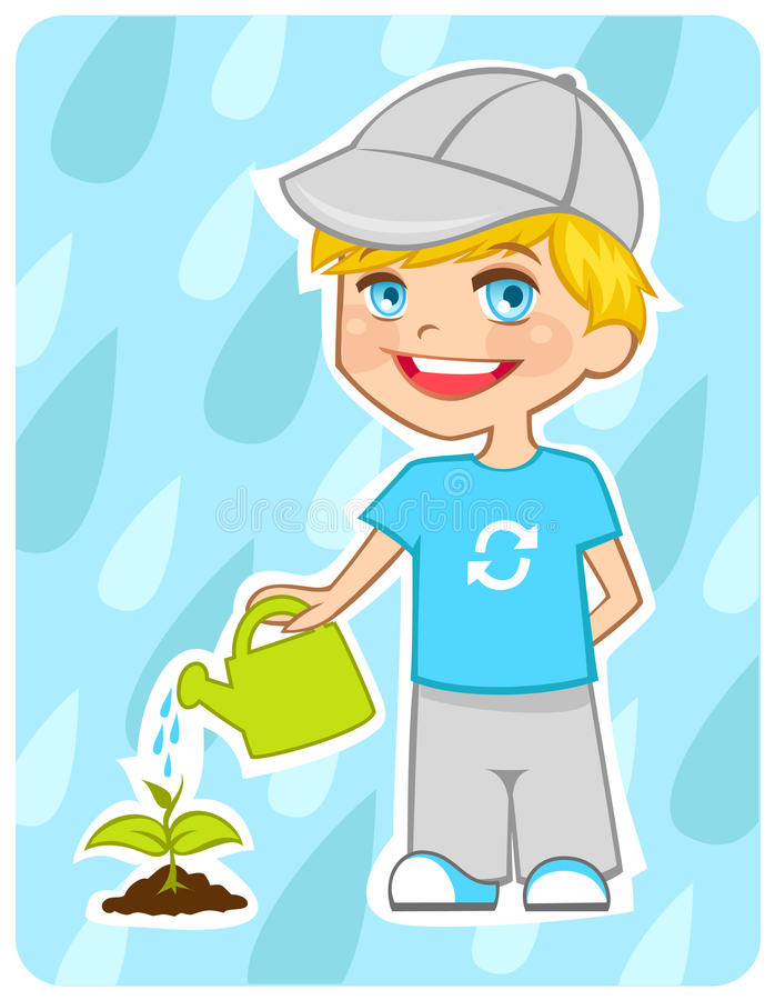 Free Eco-friendly Boy Water A Plant Royalty Free Stock Images - 14724179