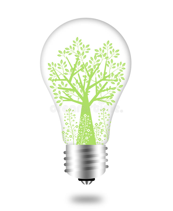 Download Eco Friendly Bulb With Green Tree And Leaves Stock Illustration - Image: 17730740
