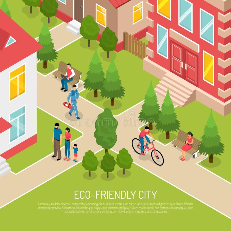 Eco Friendly Workers: Eco Friendly City Isometric Illustration Stock Vector