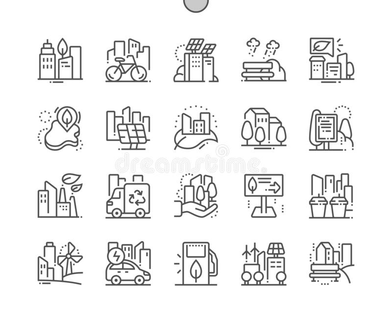 Eco friendly city Well-crafted Pixel Perfect Vector Thin Line Icons 30 2x Grid for Web Graphics and Apps. vector illustration
