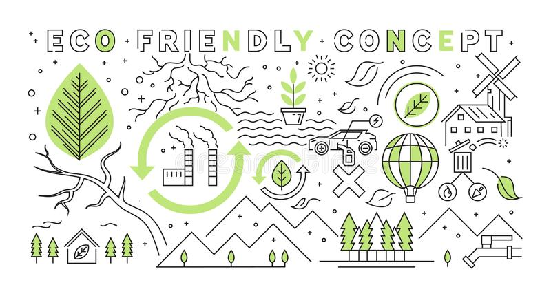 Eco Friendly Concept Flat Line Design. Go Green Project Illustration. Business Concept. Recycle For The Future royalty free illustration