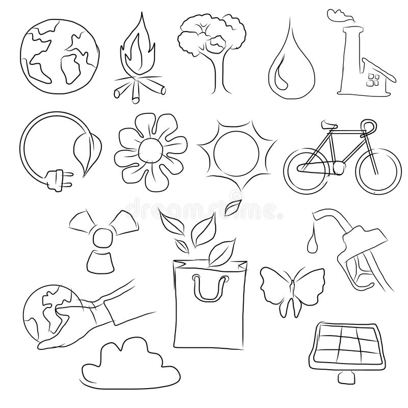 Eco friendly concept vector illustration, hand drawing of icon of bicycle, planet earth, globe, sun, bag,flower,water royalty free illustration