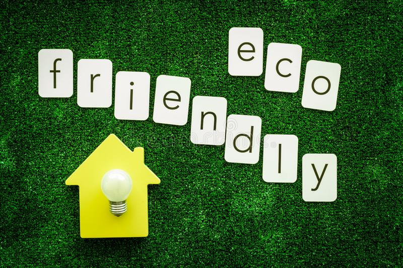 Eco friendly copy and house with bulb for ecological concept on green texture background top view.  royalty free stock photography