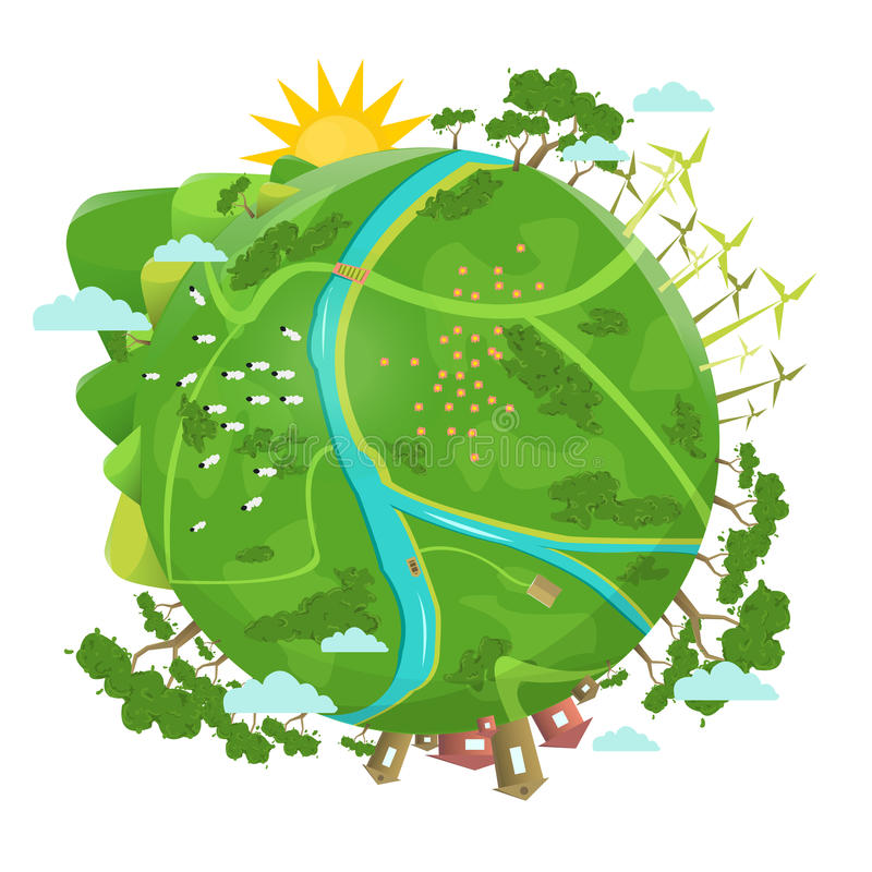 Eco friendly. Ecology design. Green Planet royalty free illustration