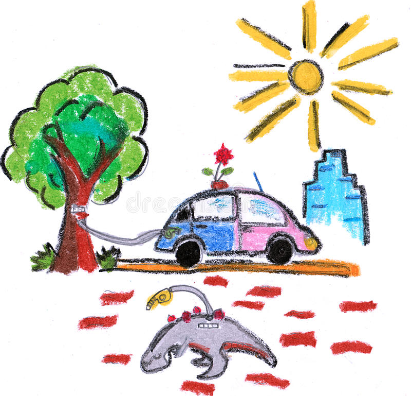 Download Eco friendly green car stock illustration. Image of dinosaur - 33366571