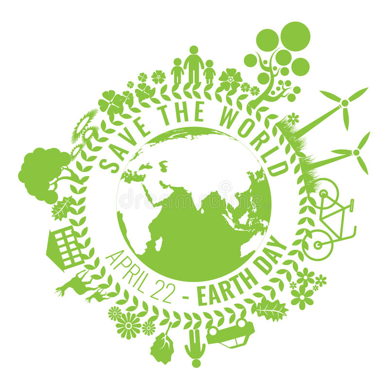 Eco Friendly, green energy concept, vector illustration. Earth day royalty free illustration