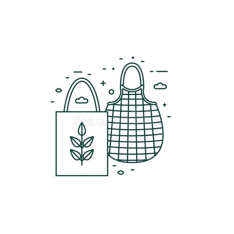 Eco Friendly Grocery Line Art Icon ilustracji