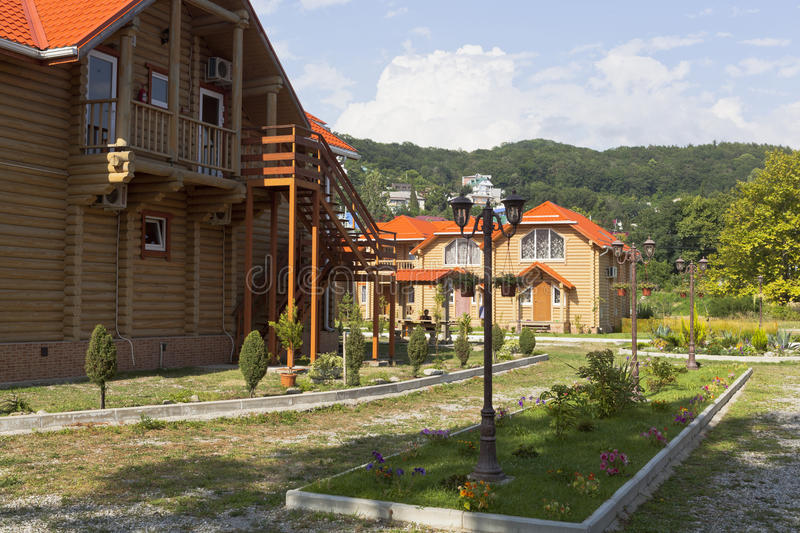 Eco-friendly hotel Lake marvelous. Lazarevskoe, Sochi, Russia royalty free stock photography