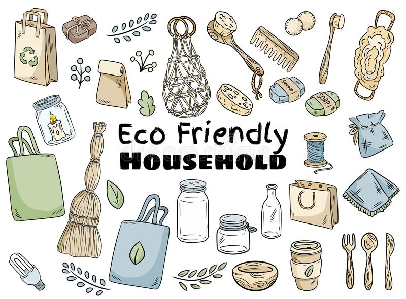 Eco friendly household set. Ecological and zero-waste collection of items. Go green living. Eco friendly household set. Ecological and zero-waste collection of stock illustration