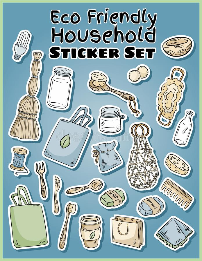 Eco friendly household stickers set. Ecological and zero-waste collection of labels. Go green living. Eco friendly household stickers set. Ecological and zero stock illustration
