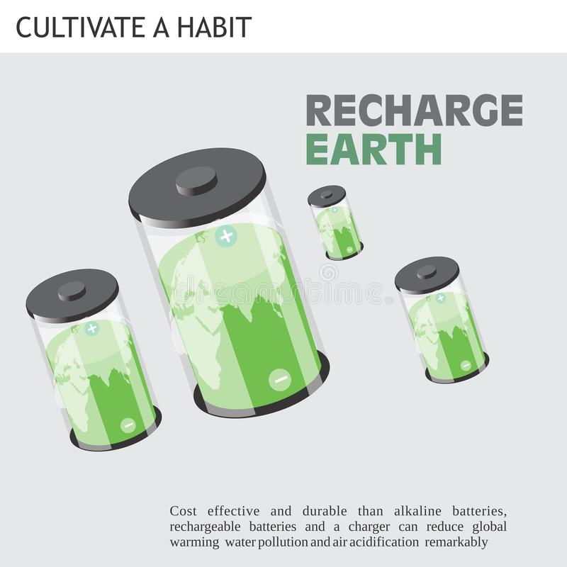 Eco Friendly Ideas recharge earth. Cost effective and durable than alkaline batteries, rechargeable batteries and a charger and reduce global warming water stock illustration