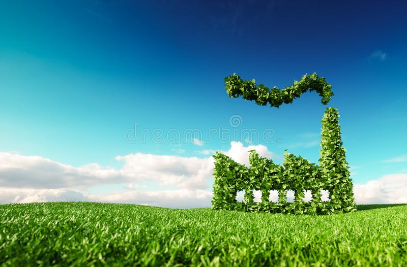 Eco friendly industry concept. 3d rendering of green factory icon on fresh spring meadow with blue sky in background. stock illustration