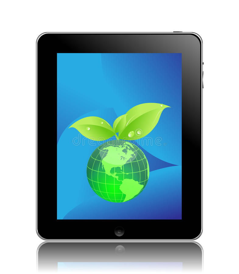 Eco friendly ipad. Apple ipad with a eco globe icon on screen eco friendly tablet pc concept
