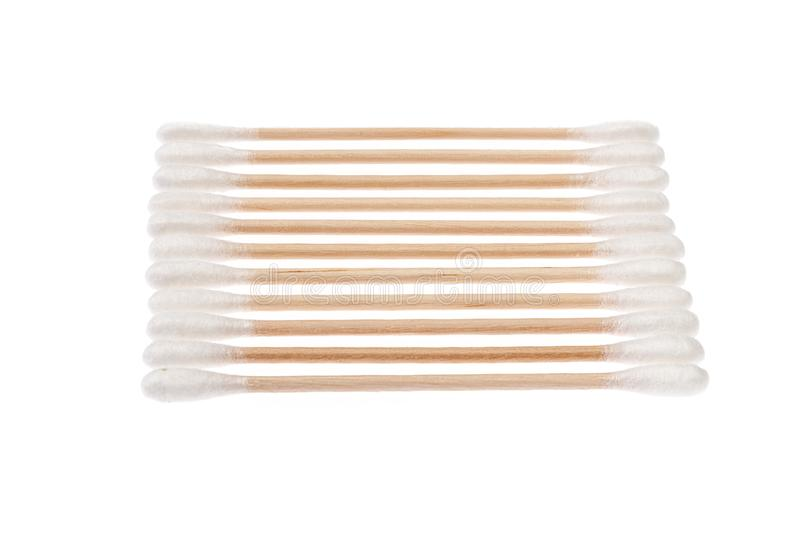 Eco-friendly materials. Wooden, cotton swabs on a white background royalty free stock photos