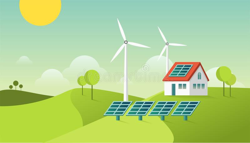 Eco friendly modern house. Green energy illustration. Solar and geothermal power. Vector concept. royalty free illustration
