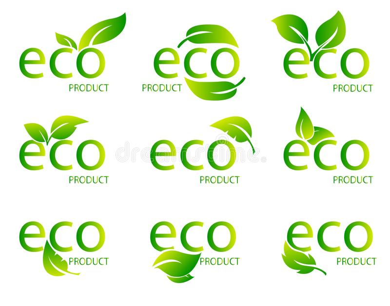 Eco Friendly Organic Natural Product Green Logo. Set of green word with green leaf. Vector Illustration vector illustration