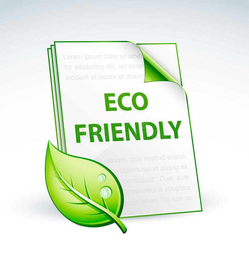 Eco friendly paper. Illustration of eco friendly paper with moist green leaf; isolated on light background vector illustration