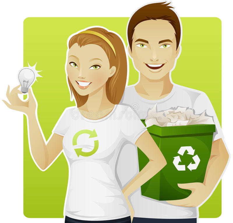 Eco-friendly people vector illustration