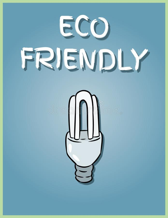 Eco friendly poster. Economical light bulb image. Saving light bulb illustration stock illustration