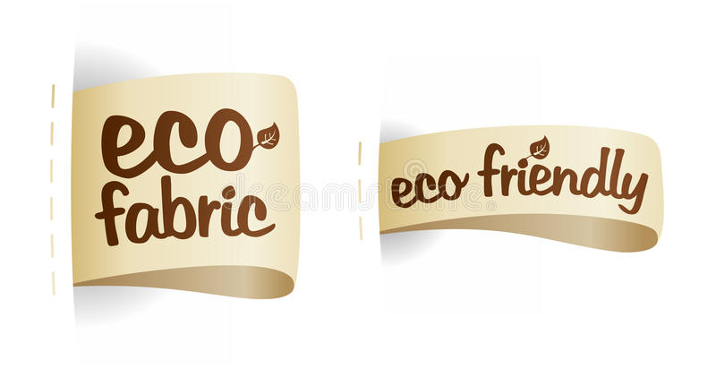 Eco friendly product fabric labels. vector illustration