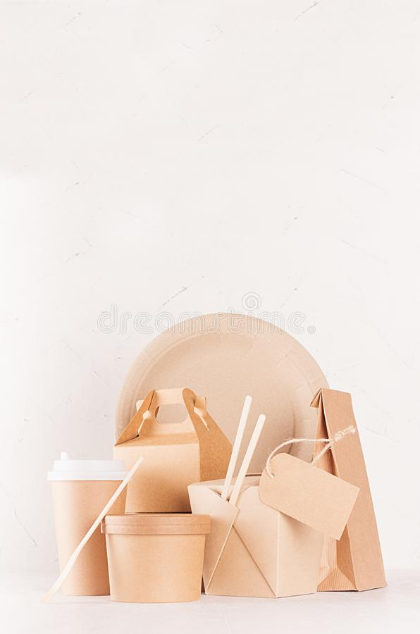 Eco friendly recycling paper packing for fast food, template for design, advertising and branding - blank bag, cup, box. Eco friendly recycling paper packing stock photos