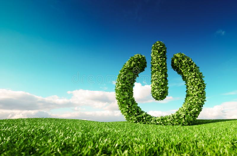 Eco friendly renewable energy concept. 3d rendering of green pow stock illustration