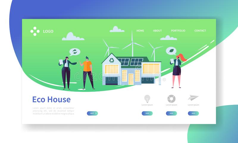 Eco Friendly Renewable Solar and Wind Energy Home Technology Landing Page. Green Electric Power House Concept Windmill royalty free illustration