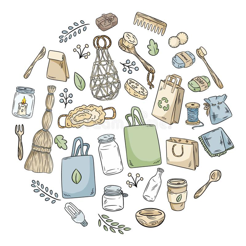 Eco friendly set of doodles in a circle. Ecological and zero-waste collection of items. Go green living. Eco friendly set of doodles in a circle. Ecological and vector illustration