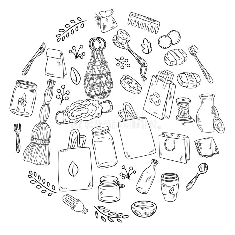 Eco friendly set of doodles in a circle. Ecological and zero-waste collection of items. Go green living. Eco friendly set of doodles in a circle. Ecological and stock illustration
