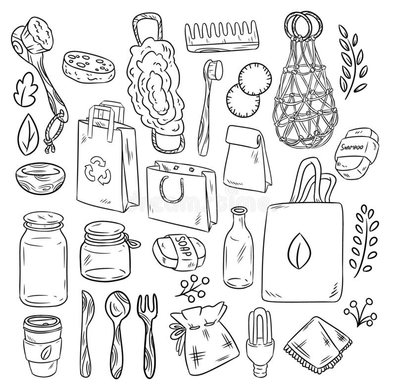 Eco friendly set of doodles. Ecological and zero-waste collection of items. Go green living. Eco friendly set of doodles. Ecological and zero-waste collection of stock illustration