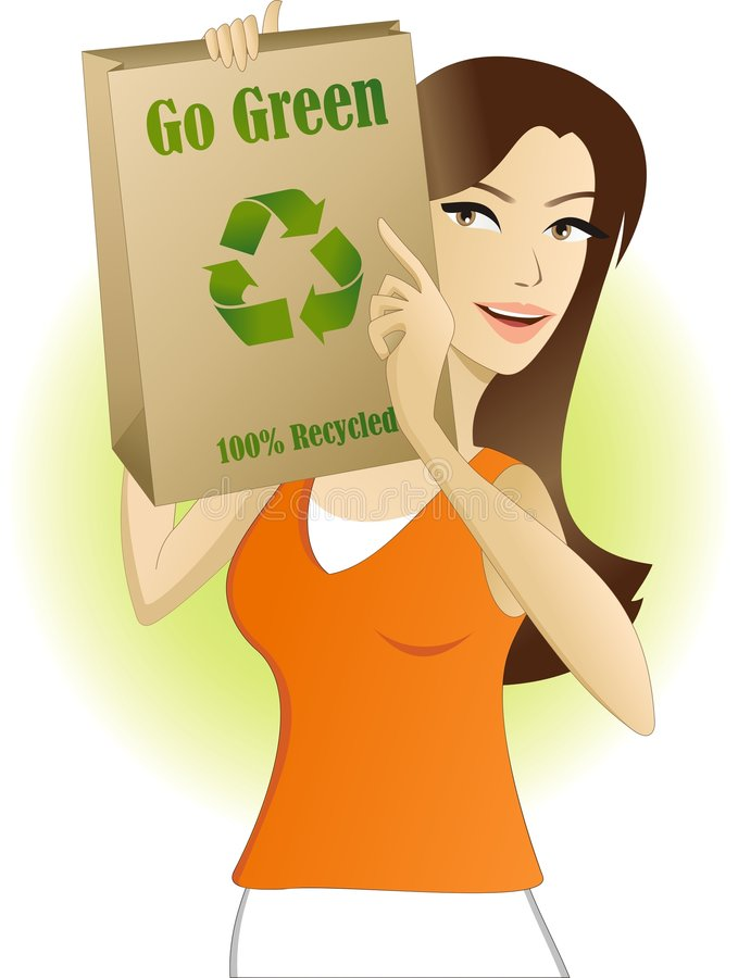 Eco friendly shopping. Eco friendly shopper suggests the use of recyclable bags