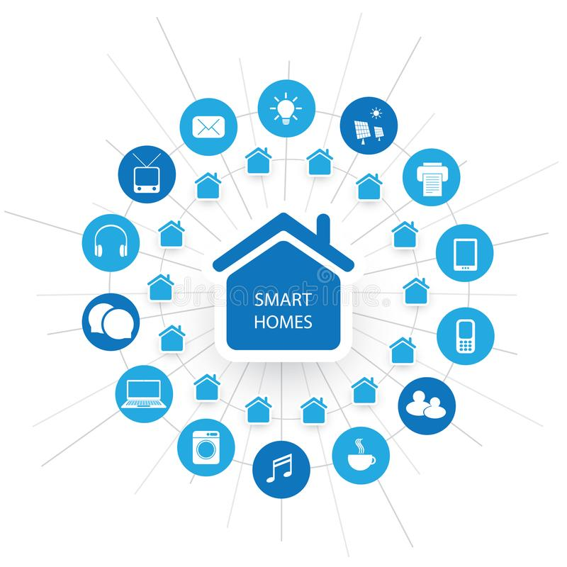 Eco Friendly Smart Home Design Concept With Icons - Cloud Computing ...