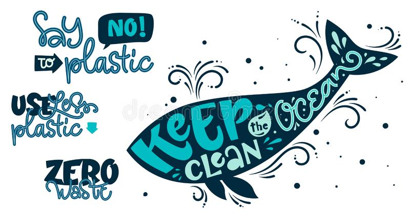 Eco friendly text set. Keep the Ocean Clean, Use Less Plastic, Say No to Plastic, Zero Waste color hand draw lettering phrase. On white background for card vector illustration