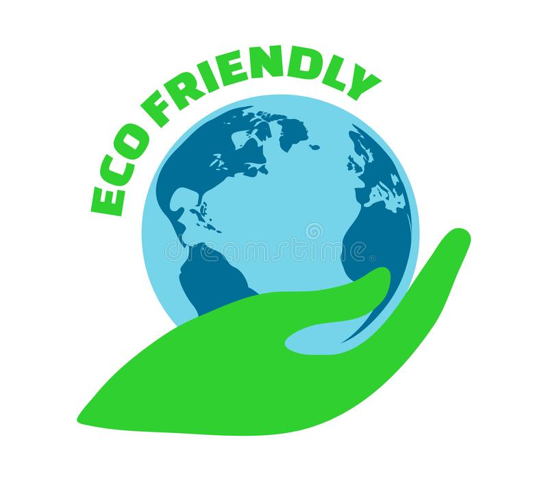 Eco Friendly vector icon. Illustration of a hand holding a planet Earth. Eco emblem, element or logo.  Save the Planet, Earth day. Eco Friendly icon vector illustration