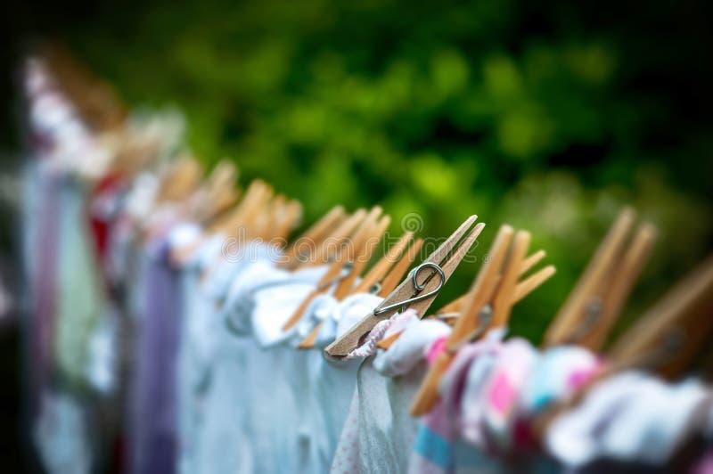 Eco-friendly washing line laundry drying stock image