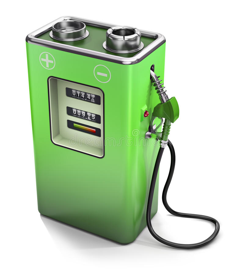 Eco fuel. Electric fuel pump, electric energy concept vector illustration