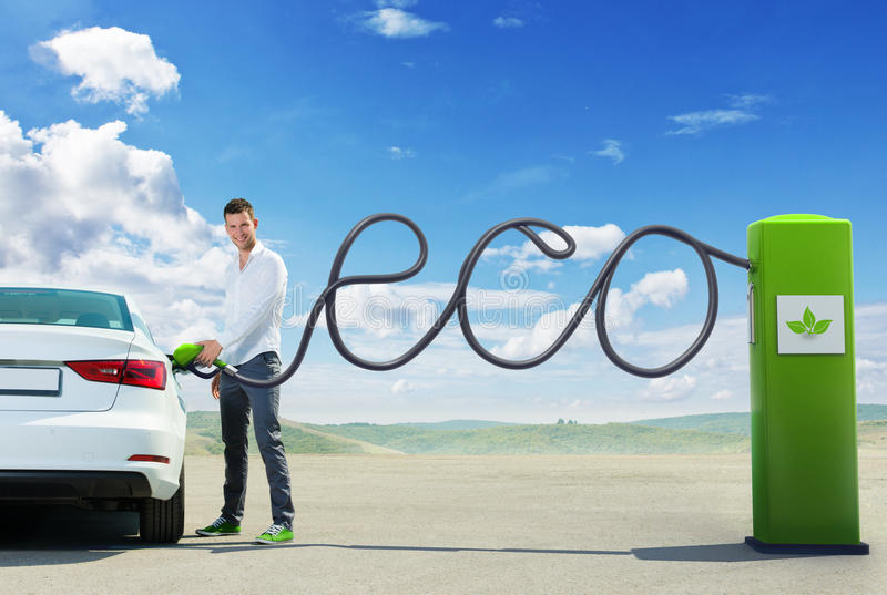Eco fuel concept. Man refueling Eco fuel stock images