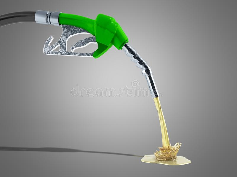 eco Fuel concept nozzle pump with hose 3d render on grey background stock illustration