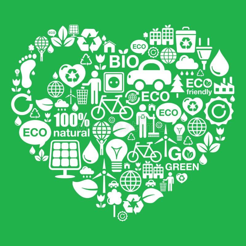 Eco gör grön hjärtaformbakgrund - ekologi som återanvänder begrepp stock illustrationer