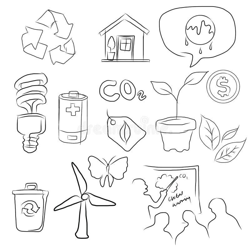 Eco gör grön symbolsuppsättningen av miljön skissar in teckningsillustrationen stock illustrationer