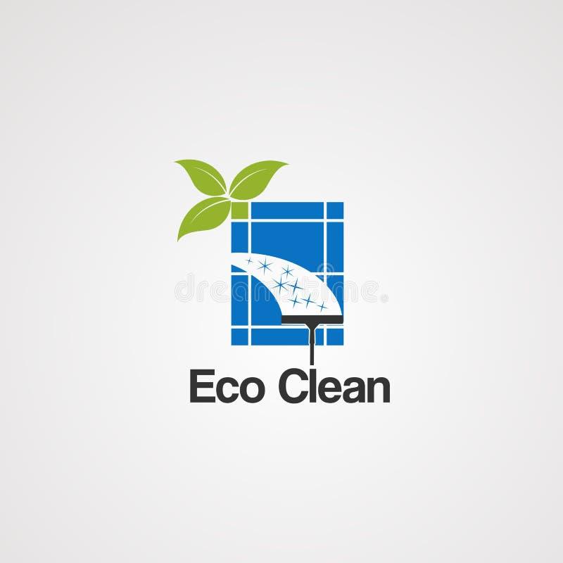 Eco gör ren med blad- och fönsterlogovektorn, symbolen, beståndsdelen och mallen för affär royaltyfri illustrationer