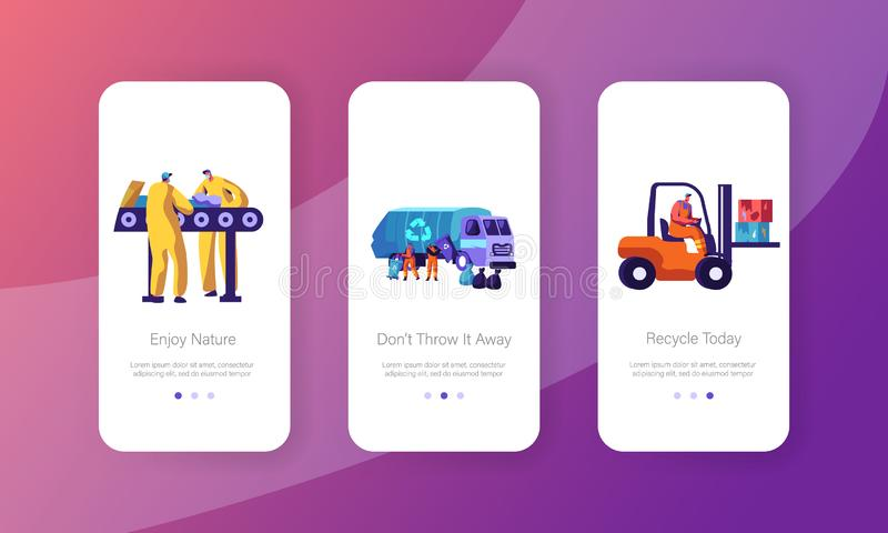 Eco, Garbage Recycling Concept for Website or Web Page, Metallurgy Factory Working Process, Workers Collecting Litter to Truck. Mobile App Page Onboard Screen vector illustration