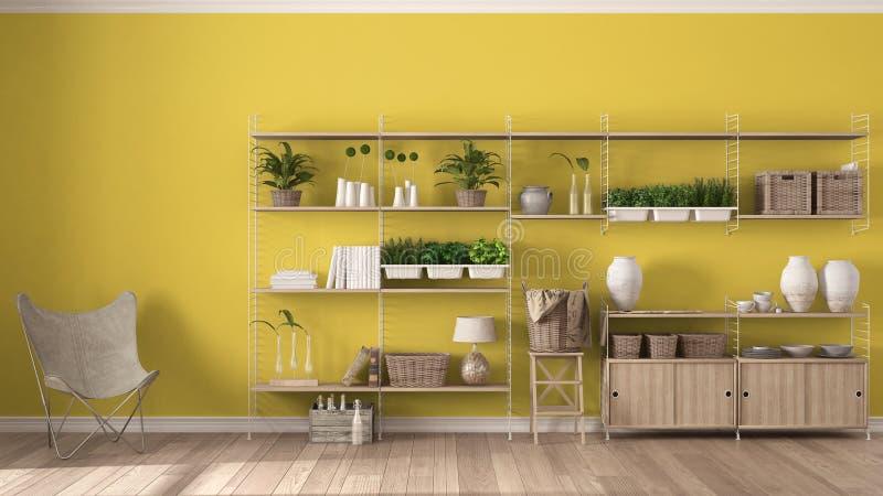 Eco geel binnenlands ontwerp met houten boekenrek, diy verticaal g stock fotografie