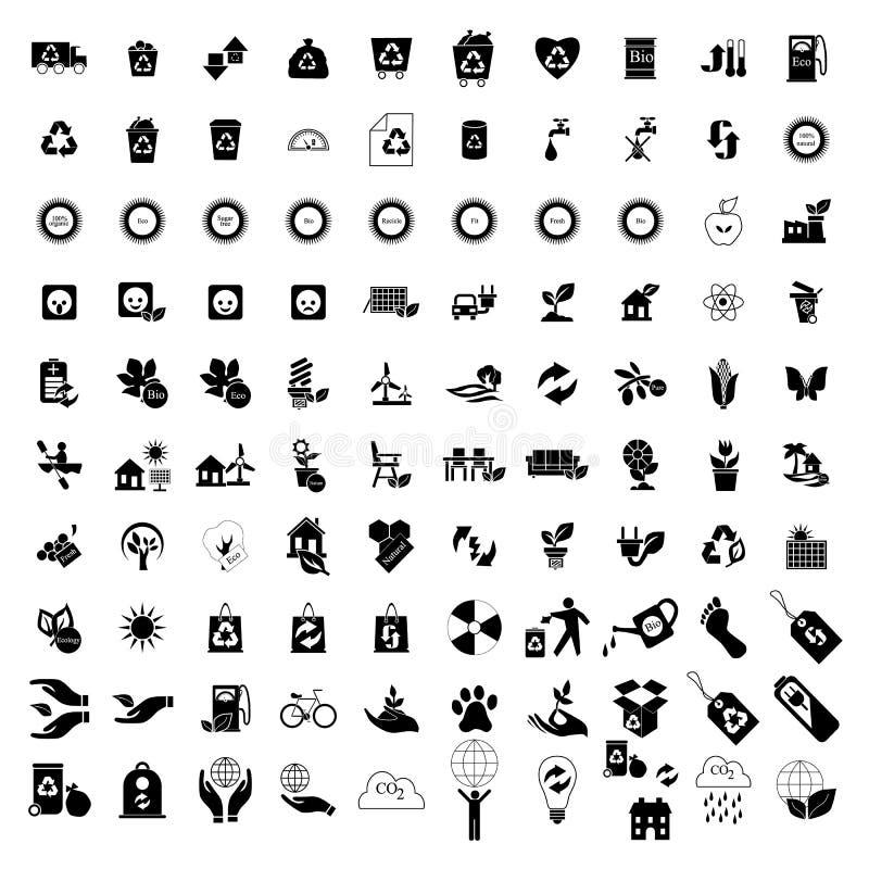 100 Eco-geplaatste pictogrammen royalty-vrije illustratie